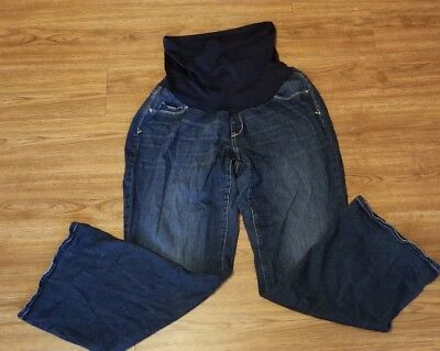 Maternity Jeans Indigo Blue Size 2X Blue Over the Belly Straight leg 32 inseam