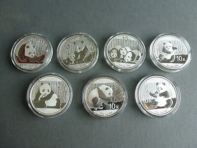 "SET China 10 YUAN ""PANDA"" 5x1 OZ+ 2x30 gr 999 Feinsilber 2011 bis 2017 date run"