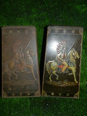 Very Rare Embossed Native American Indian print Victory V Lozenge Tins