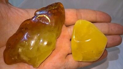 56,2gr 2 Pcs Beautiful Polished Old Baltic Amber Stones Egg Yolk 老琥珀