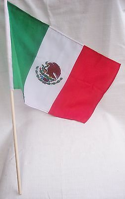 "Mexican Flag Set Of 2= Cloth Red-White-Green With Eagle At The Center:18"" X 12"""