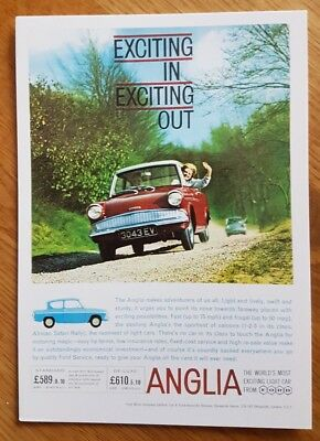 No 26 Exciting Ford Anglia Light Car 1962 Postcard Vintage Ad Galllery VF262PC