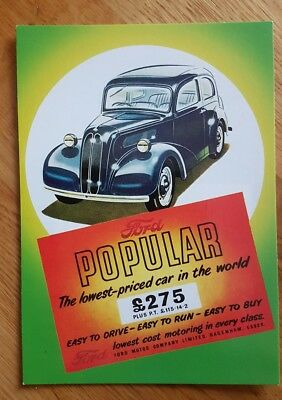 No 27 Ford Popular Dagenham Essex 1953 Postcard Vintage Ad Galllery VF84PC *MINT