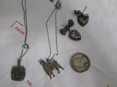Lot Of 4 Pcs Vintage 925 Stamped Sterling Silver Jewelry