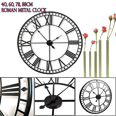 Extra Large Iron Skeleton Wall Mounted Vintage Style Roman Clock Home Decor Gift