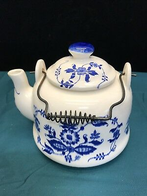 Vintage Blue and White Ceramic / Porcelain Teapot with Wire Handle - Japan