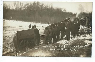 Rushford MN Minnesota RPPC Postcard Train Wreck Feb 1 1909 Swenson Photo
