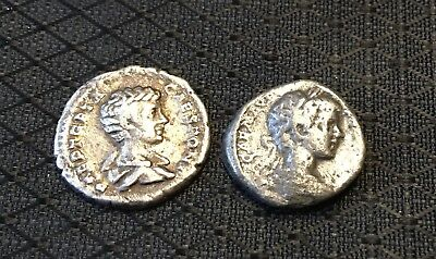 Lot Of 2 Ancient Roman Silver Coins: Denarius Of Geta And Caracalla~XF+bonus