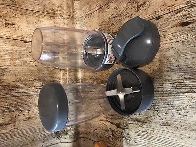 Genuine Replacement Nutribullet 600 Series Large Cup Set With Lids And Blades