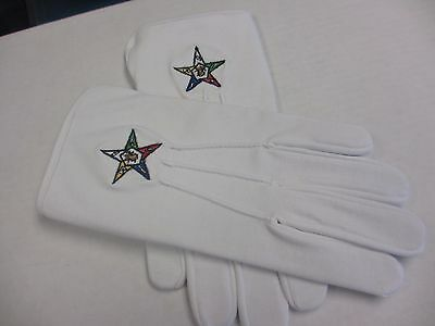 Eastern Star OES Masonic Lodge Freemasons Cotton White Gloves Embroidered