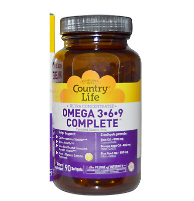 Country Life Ultra Concentrated Omega 3-6-9 COMPLETE, 90 Softgels, EXP: 3/19