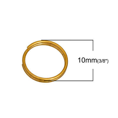 200pcs 10mm gold plated double loop split rings open jump rings