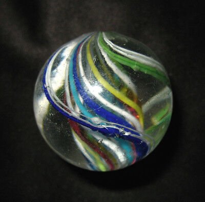 Older Vintage German Hand Made Glass Swirl Marble, 1.305""