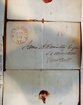 1835 USMA West Point Coverless Stampless Letter - Alex Hamilton. to Father
