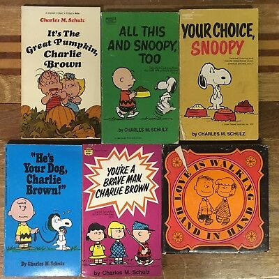 Lot of 5 Charlie Brown Snoopy Peanuts books Charles M. Schulz Great Pumpkin vtg