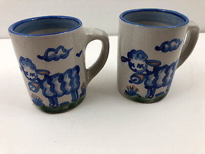 M.A. Hadley Sheep Lamb Coffee Mug Cup Pottery Blue THE END Set of 2