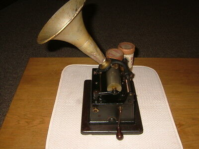 Antique Original Edison Gem Phonograph W/ Wooden Bottom Base & Horn, No Top
