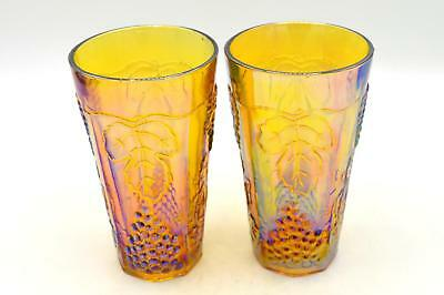 Pair of Indiana Amber/Gold Carnival Glass Tumblers - Harvest Grape Pattern