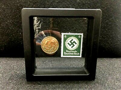 Authentic German WW2 Rare 5pf Coin & with famous 6pf unused Stamp