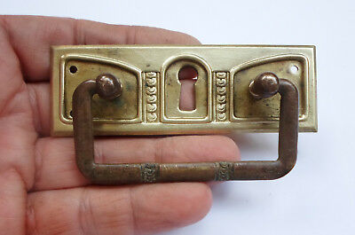 Original Vintage Brass Keyhole Cover with Drop Pull Handle for Drawer  Chest Box