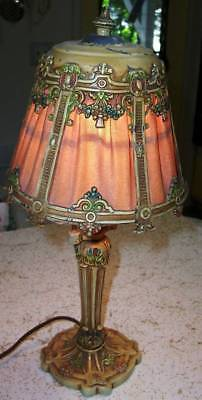 SHabby so CHIC Vintage 1920s Boudoir Lamp Cast w/Floral swags WORKS