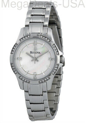 Bulova 96L191 Women's Mother of Pearl Dial Crystals Accents Bezel Dial Watch JS