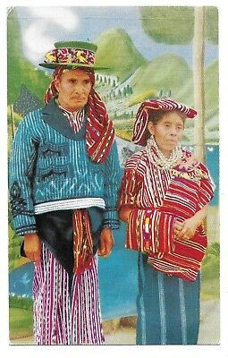 Indian Couple Of Guatemala,central America,1950's Postcard With Guatemala Stamps