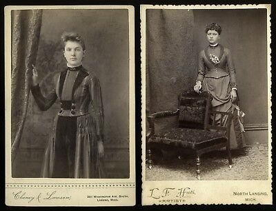 (Lot of 2) Lansing Michigan MI Cabinet Photos ~ One Lady is Absolutely Gorgeous