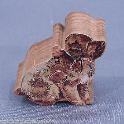 """Victorian Puppy Mini 3-D Wooden 1"""" Tall Puzzle No.3 Handmade 3 Pieces"""