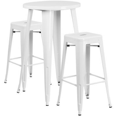 Flash Furniture Contemporary Table Chair Set In White CH-51080BH-2-30SQST-WH-GG