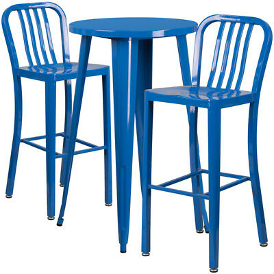 Flash Furniture Industrial Table Chair Set With Blue CH-51080BH-2-30VRT-BL-GG