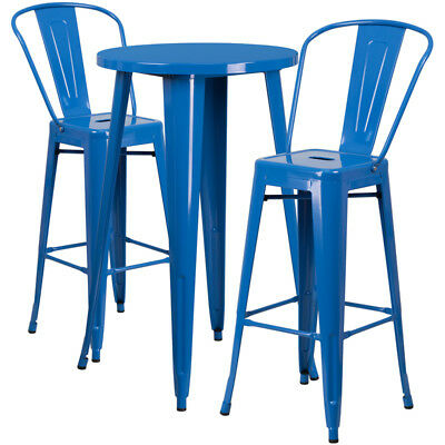 Flash Furniture Contemporary Table Chair Set In Blue CH-51080BH-2-30CAFE-BL-GG