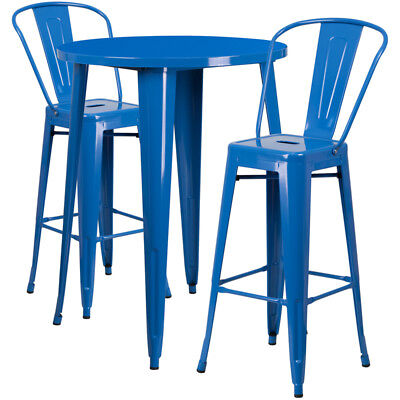 Flash Furniture Contemporary Table Chair Set In Blue CH-51090BH-2-30CAFE-BL-GG