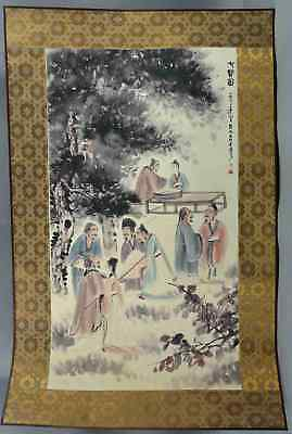 Old Collectable Famous Man Hand-Paint Classical Poet & Scenery Painting Scrolls