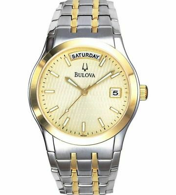 Bulova 98C60 Men's Two Tone Stainless Steel Classic Day Date Analog Watch JS