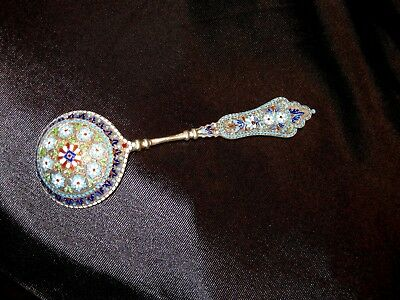 Beautiful Antique Russian 84 Sterling Silver Server/Spoon with Enamel