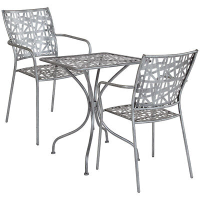 Flash Furniture Agostina Table Chair Set With Antique Silver Finish SF-2-TC-GG