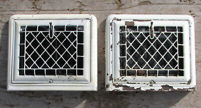 Antique Wall Register Heating Vent Pair Lot Ornate Steel Grate Flap Shabby Paint