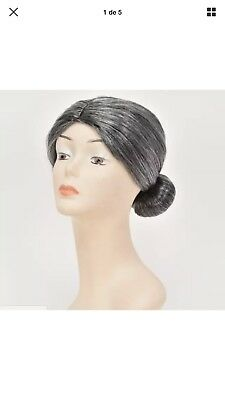 OLD LADY COSTUME WIG DELUXE Mrs. Claus Elderly Gray Grey Bun Hair Santa NEW cad67a7a6