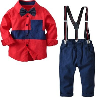 Boys Shirt Pants Suit Red Blouse Rompers Formal Set For Wedding Birthday Party