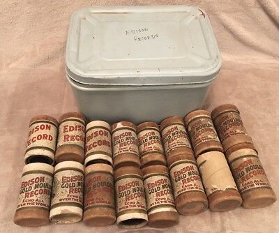 Lot of 16 w/metal Box - Edison Gold Mould Record Cylinder Boxes, w/bad Cylinders