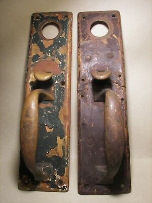 Pair of 2 Large Eye Catching Antique Thumb Latch Door Plate Handles Victorian