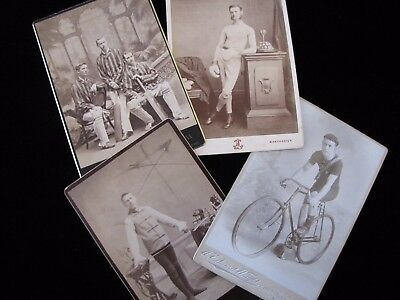 Four Sporting Cabinet Card Photographs; Boxing, Cricket, Fencing & Cycling (#1)