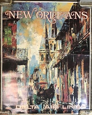 Original Vintage 1970's Delta Airlines New Orleans Poster Art by Jack Laycox