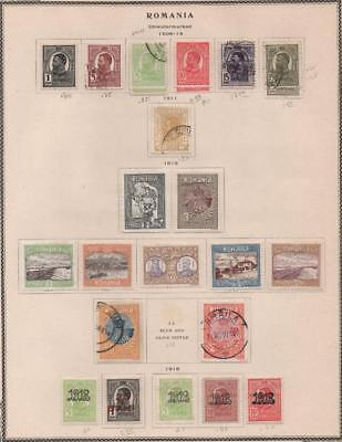 ROMANIA: 1908-1918 Examples - Ex-Old Time Collection - Album Page (18956)