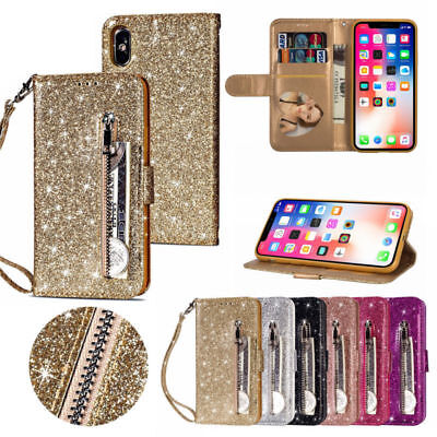 For iPhoneXS Max XR X Leather Glitter Bling Zipper Wallet Stand Flip Case Cover