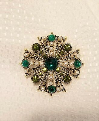 Vintage green rhinestone glass cab brooch maltese cross faux pearl unsigned desi