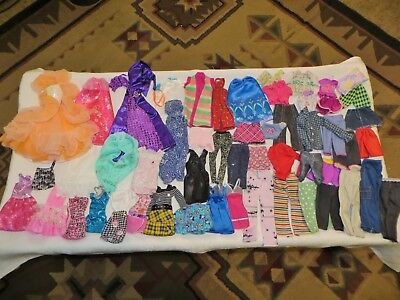 Barbie Doll Size Clothes~45+ Piece Lot~Peaches Gown~Dresses~Shirts~Skirts~Jeans