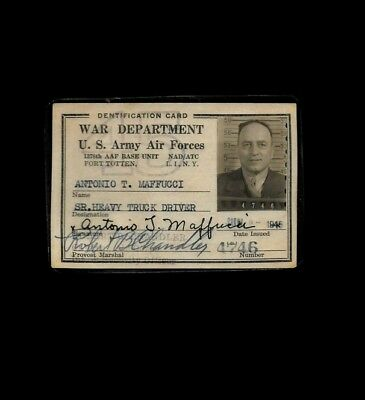 WWII WW2 War Department US Army Air Force Identification ID Card - New York