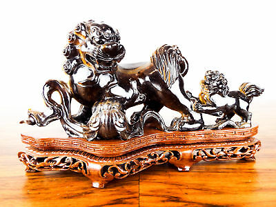 Vintage Chinese Carved Foo Dogs Stone Tigers Eye Guardian Temple Lions Qilin